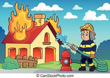 tema, 2, pompiere, immagine