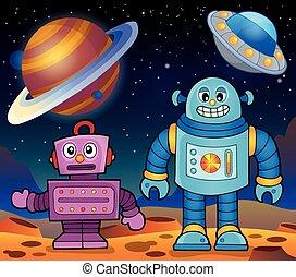 tema, 2, robot, spazio