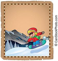 tema, 2, sport, inverno, pergamena