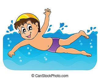 tema, 3, imagem, natação