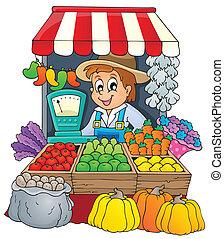 tema, 3, imagen, granjero