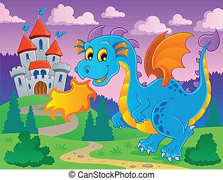 tema, 5, imagem, dragão