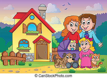 tema, 5, immagine, famiglia