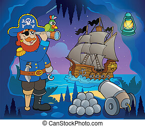 tema, 5, pirata, immagine, baia