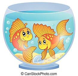 tema, acuario, imagen, 3