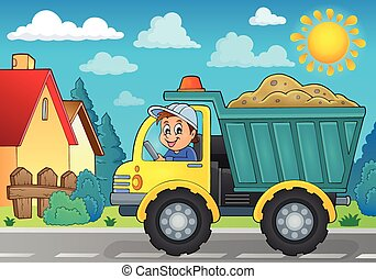 tema, areia, imagem, caminhão, 3