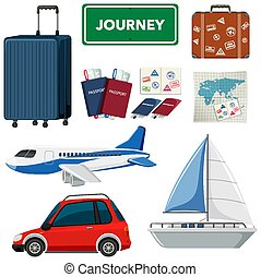 tema, artículos, conjunto, otro, vacaciones, transportations