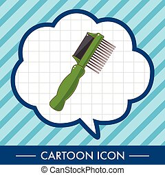 tema, børste, eps10, yndling, hund, vektor, element