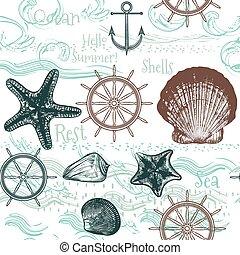 tema, bakgrund, hav, söt, seamless, ocean, vektor, vila