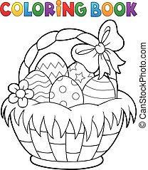 tema, bok, 1, påsk, kolorit, korg