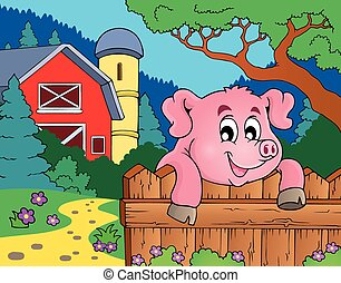 tema, cerdo, imagen, 6