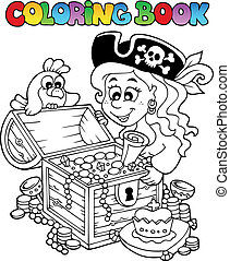 tema, coloração, 5, livro, pirata