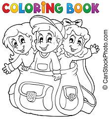 tema, coloração, crianças, livro, 6
