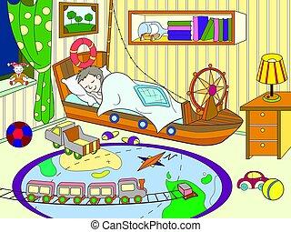 tema, coloração, infancia, sala, crianças