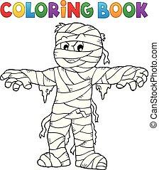 tema, coloritura, mummia, 1, libro