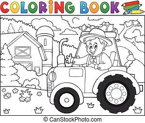 tema, coloritura, trattore azienda agricola, 1, libro