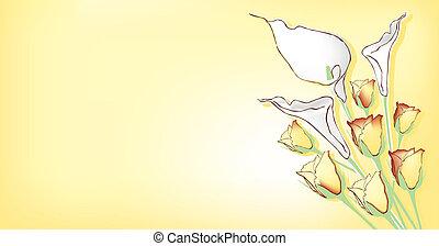tema, con, fiori