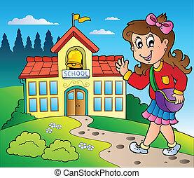 tema, con, niña, y, escuela, edificio
