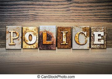 tema, concetto, polizia, letterpress