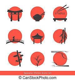 tema, conjunto, japonés, iconos