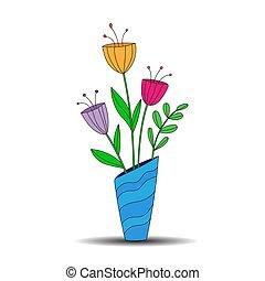 tema, cor conservada estoque, vaso, buquet, desenho, flowers.