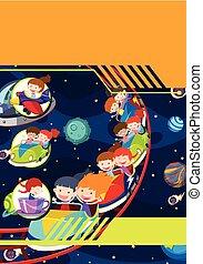 tema, crianças, modelo, espaço