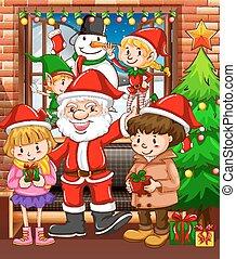 tema, crianças, santa, natal
