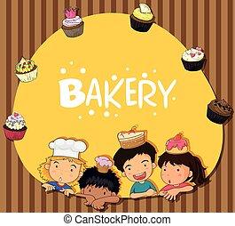 tema, cupcakes, panificadora, crianças