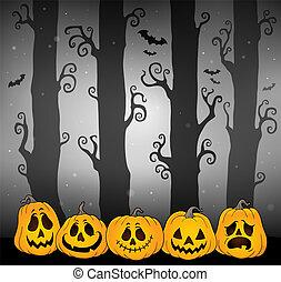 tema, dia das bruxas, floresta, imagem, 4
