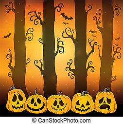 tema, dia das bruxas, floresta, imagem, 6