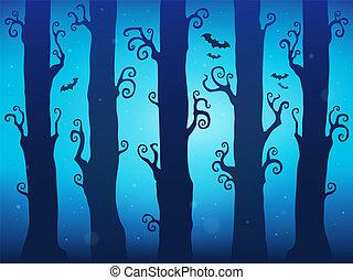 tema, dia das bruxas, floresta, imagem, 7