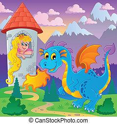 tema, dragão, imagem, 6