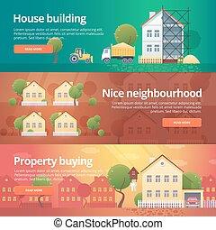 tema, edificio, banderas, casa, edificio, verdadero, construcción, set., propiedad, compra, ilustraciones, vecindario, plano, estate.