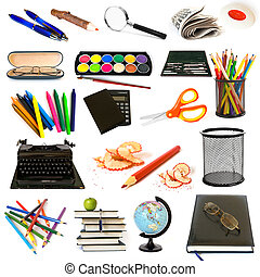 tema, educação, grupo, objetos