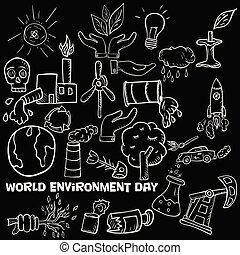 tema, elementi, contorno, 1, vario, fondo, giorno, isolato, oggetti, set, attività, mondo, ambiente, disegno, umano