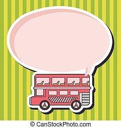 tema, elementi, double-decker, eps, autobus, vettore
