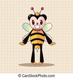 tema, elementos, caricatura, abelha