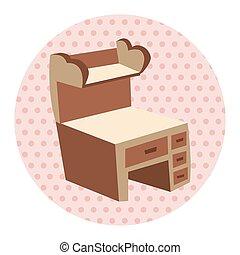 tema, elementos, muebles, gabinete