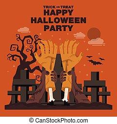 tema, eller, baner, affisch, halloween, bakgrund, parti, night., zombie, lägenhet, hand