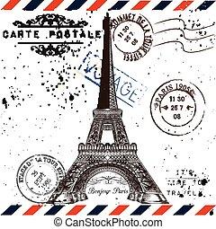 tema, estilo, paris, grunge, torre, poste, viagem, cartão, viagem, vocação, vindima, immitation, selos, eiffel, bonjour, paris.
