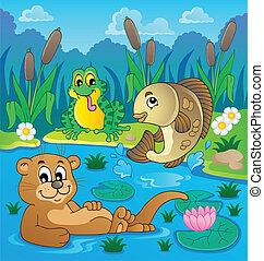 tema, fauna, 2, río, imagen