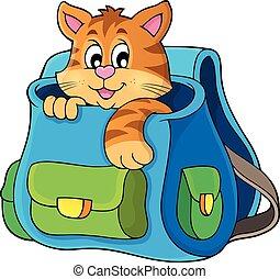 tema, gato, schoolbag