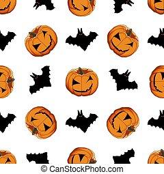 tema, grande, patrón, ilustración, coloreado, halloween