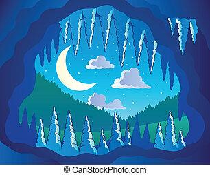 tema, grotta, avbild, 3