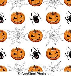 tema, halloween, ilustración, grande, patrón, coloreado