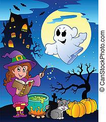 tema, halloween scen, 4