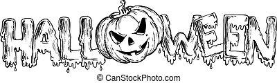 tema, halloween, teckning, 3