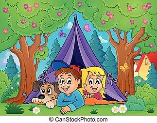 tema, imagem, acampamento, 3