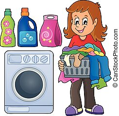 tema, imagem, lavanderia