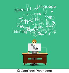 tema, infographic, idioma, aprendizaje, en línea